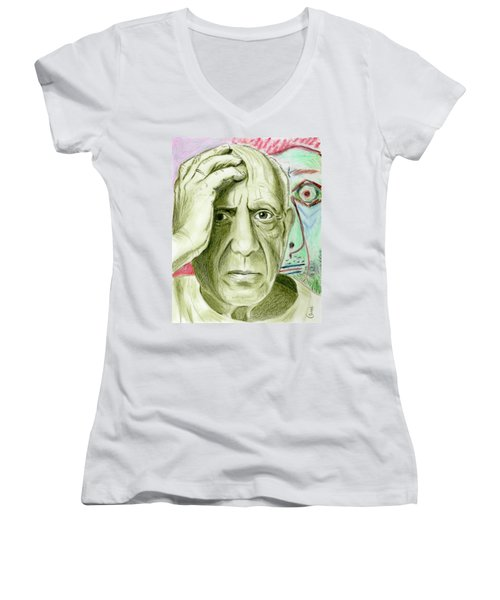 Women's V-Neck T-Shirt (Junior Cut) featuring the drawing Pablo Piccaso by Yoshiko Mishina