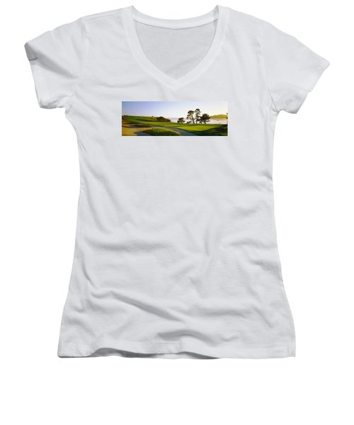 Pebble Beach Golf Course, Pebble Beach Women's V-Neck T-Shirt