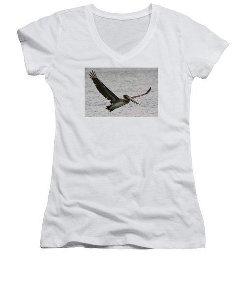 Pelican In Flight Women's V-Neck T-Shirt