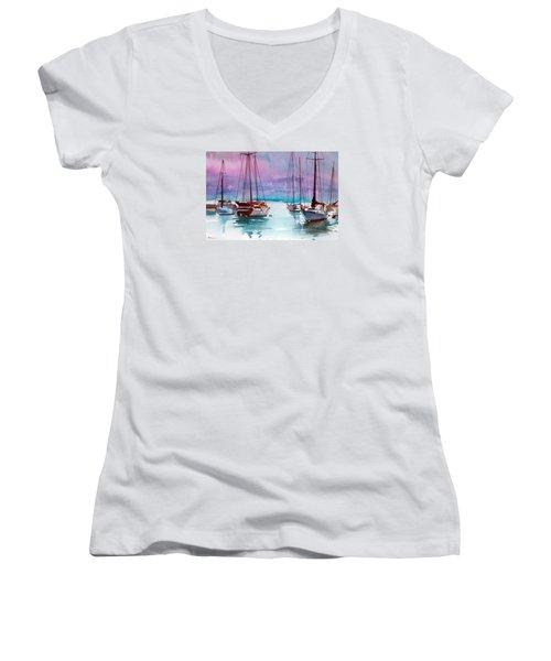 Phang-nga Bay Women's V-Neck T-Shirt (Junior Cut) by Ed Heaton
