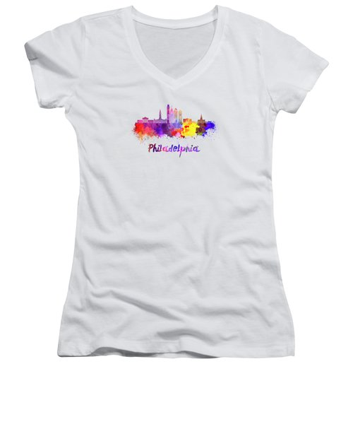 Philadelphia Skyline In Watercolor Women's V-Neck T-Shirt