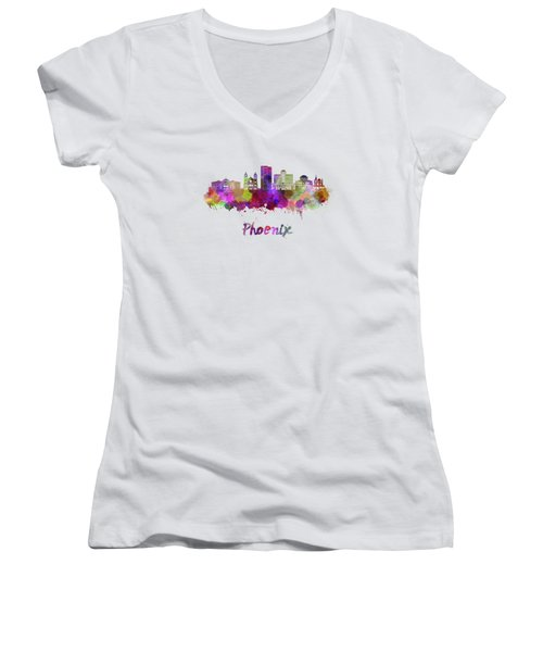 Phoenix Skyline In Watercolor Women's V-Neck (Athletic Fit)