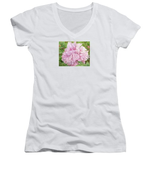 Pink Peony Women's V-Neck (Athletic Fit)