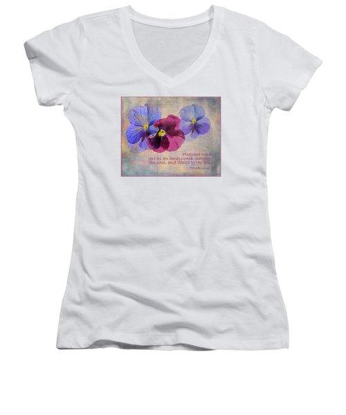 Pleasant Words Women's V-Neck T-Shirt