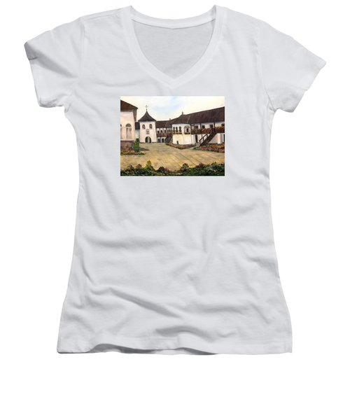 Polovragi Monastery - Romania Women's V-Neck T-Shirt (Junior Cut) by Dorothy Maier