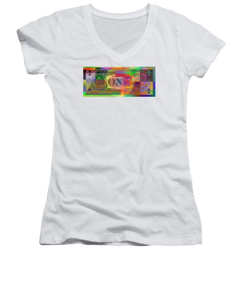 Pop-art Colorized One U. S. Dollar Bill Reverse Women's V-Neck T-Shirt (Junior Cut) by Serge Averbukh