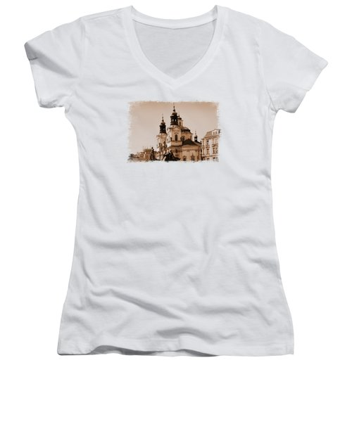 Old Memories Of Prague Women's V-Neck