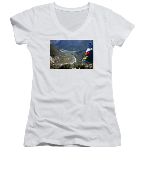 Prayer Flags In The Himalaya Mountains, Annapurna Region, Nepal Women's V-Neck