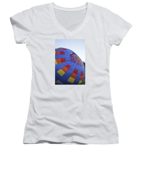 Women's V-Neck T-Shirt (Junior Cut) featuring the photograph Preparing For Lift Off by Linda Geiger
