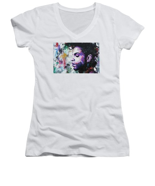 Prince Women's V-Neck T-Shirt (Junior Cut) by Richard Day
