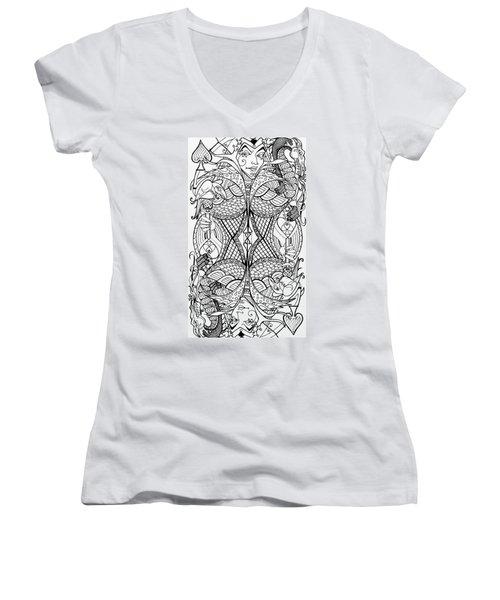 Queen Of Spades 2 Women's V-Neck T-Shirt (Junior Cut) by Jani Freimann