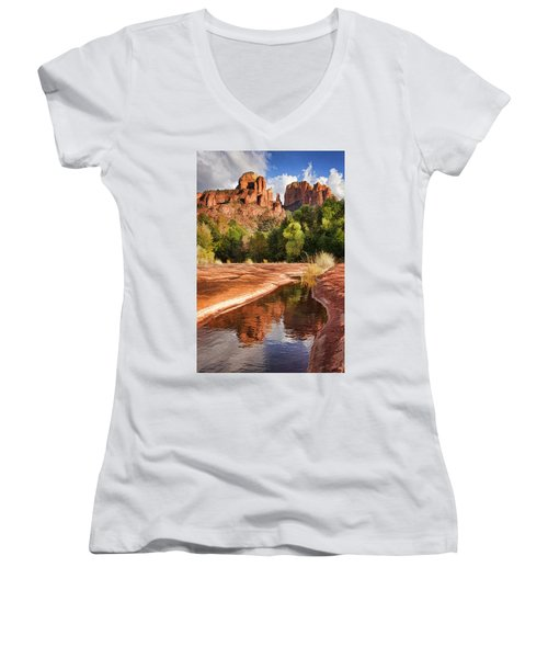 Reflections Of Cathedral Rock Women's V-Neck