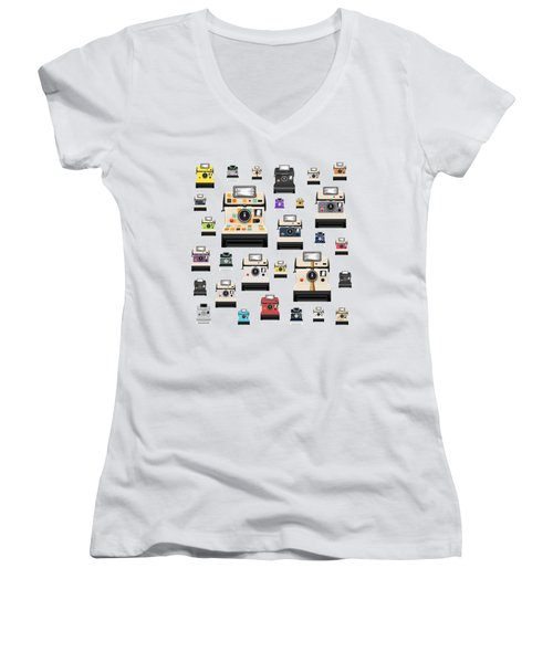 Retro Camera Women's V-Neck T-Shirt (Junior Cut) by Setsiri Silapasuwanchai