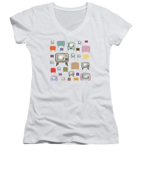 Women's V-Neck T-Shirt (Junior Cut) featuring the painting Retro T.v. by Setsiri Silapasuwanchai