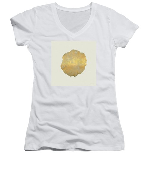 Rings Of A Tree Trunk Cross-section In Gold On Linen  Women's V-Neck T-Shirt (Junior Cut) by Serge Averbukh
