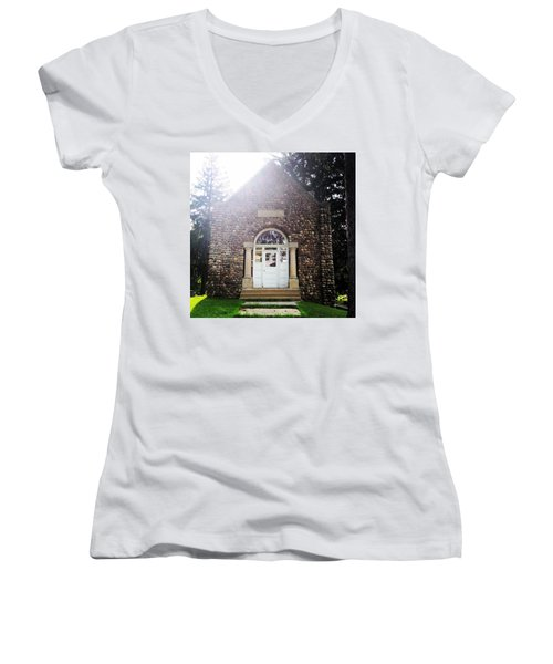 Riverside Cemetery Chapel Women's V-Neck (Athletic Fit)