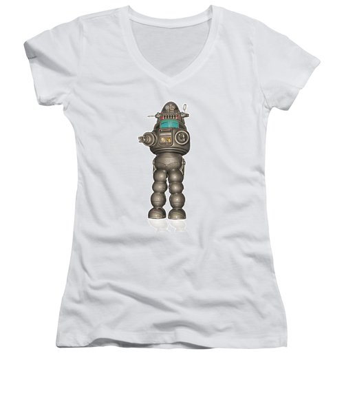 Robby The Robot Women's V-Neck T-Shirt (Junior Cut) by Gary Warnimont