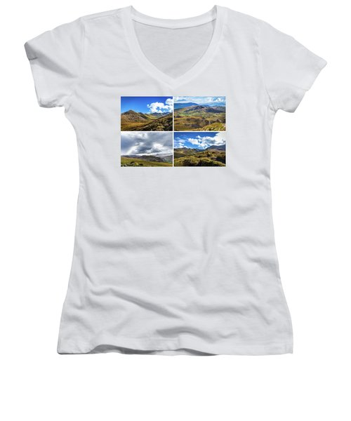 Women's V-Neck T-Shirt (Junior Cut) featuring the photograph Postcard Of Rock Formation Landscape With Clouds And Sun Rays In Ireland by Semmick Photo