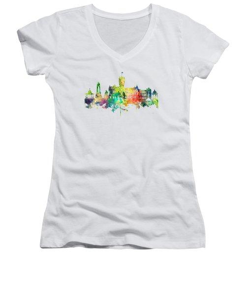Rutherglen Scotland Skyline Women's V-Neck T-Shirt (Junior Cut) by Marlene Watson