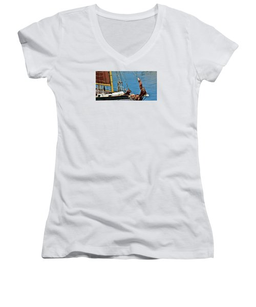 Sail Boat Women's V-Neck T-Shirt (Junior Cut) by Werner Lehmann