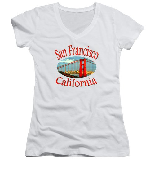 San Francisco California Design Women's V-Neck (Athletic Fit)