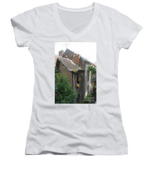 Seen Better Days Women's V-Neck T-Shirt (Junior Cut) by Therese Alcorn
