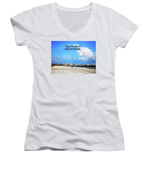 Siesta Beach Women's V-Neck T-Shirt (Junior Cut) by Gary Wonning