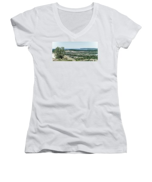 Women's V-Neck T-Shirt (Junior Cut) featuring the photograph Sleeping Bear Dunes National Lakeshore by Alexey Stiop