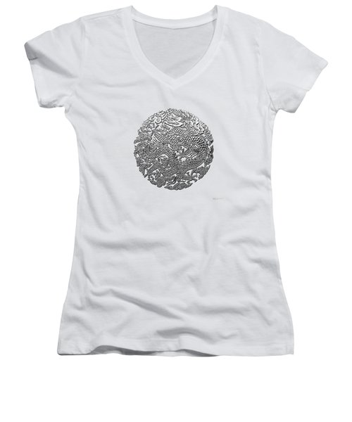 Sliver Chinese Dragon On White Leather Women's V-Neck T-Shirt (Junior Cut) by Serge Averbukh