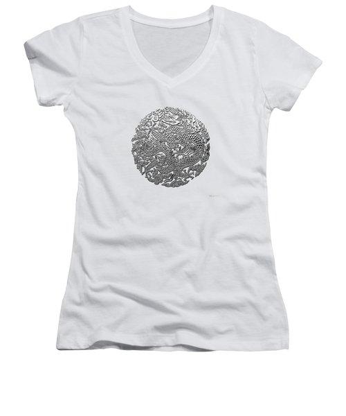 Sliver Chinese Dragon On White Leather Women's V-Neck T-Shirt