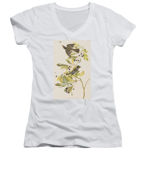 Small Green Crested Flycatcher Women's V-Neck T-Shirt (Junior Cut)