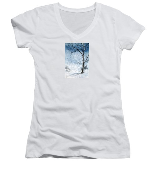 Snowy Night Women's V-Neck T-Shirt (Junior Cut) by Rebecca Davis