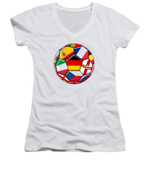 Soccer Ball With Flag Of German In The Center Women's V-Neck T-Shirt (Junior Cut) by Michal Boubin