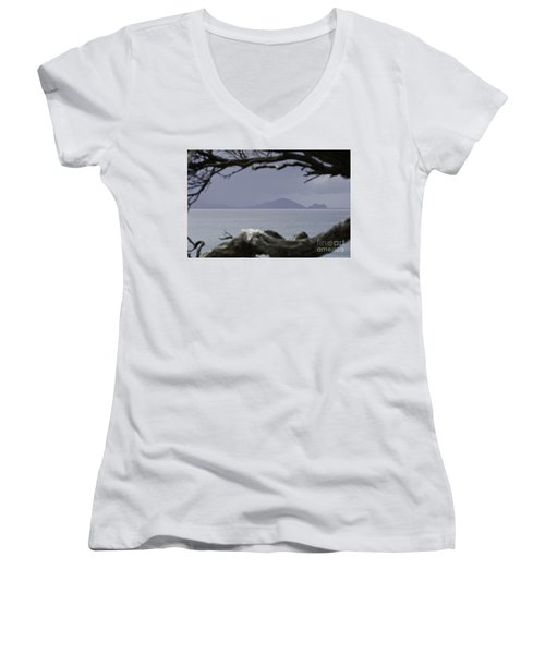 Women's V-Neck T-Shirt (Junior Cut) featuring the photograph Somewhere Around Whangarei, New Zealand by Yurix Sardinelly
