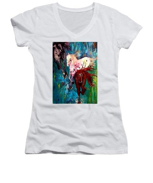 Spirit Horses Women's V-Neck T-Shirt