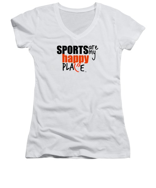 Sports Are My Happy Place Women's V-Neck T-Shirt (Junior Cut) by Shelley Overton