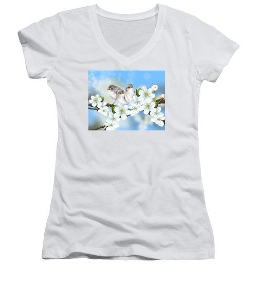 Women's V-Neck T-Shirt (Junior Cut) featuring the painting Spring Fever by Veronica Minozzi