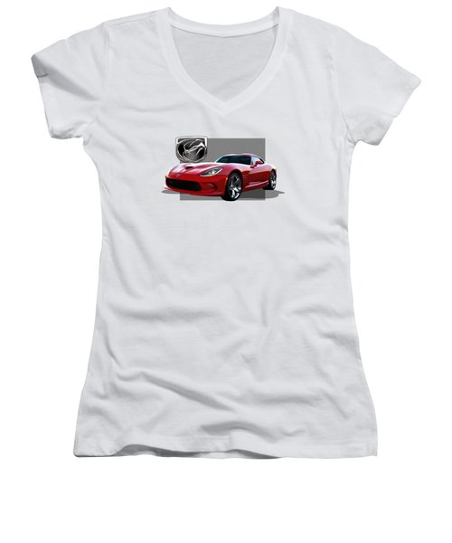 S R T  Viper With  3 D  Badge  Women's V-Neck T-Shirt (Junior Cut) by Serge Averbukh
