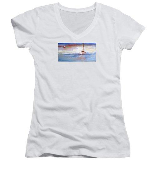 Stillness Women's V-Neck T-Shirt (Junior Cut) by Trina Teele