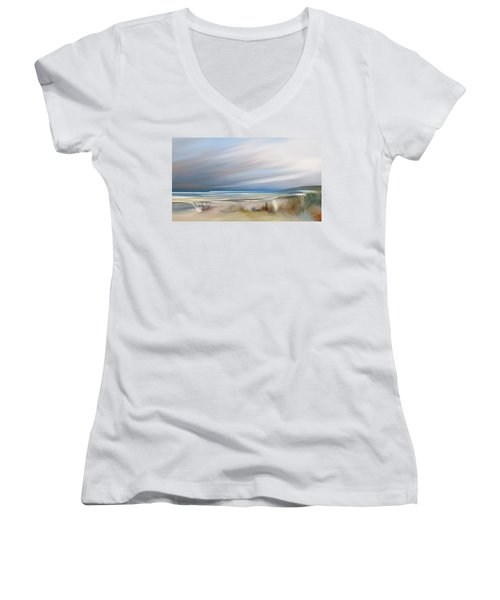 Storm Over Beach Women's V-Neck T-Shirt (Junior Cut) by Anthony Fishburne