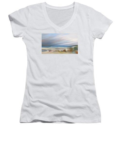 Storm Over Beach Women's V-Neck T-Shirt