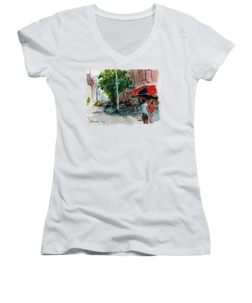 Streetscape With Red Awning - 82nd Street Market Women's V-Neck T-Shirt