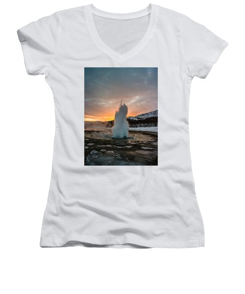 Strokkur Winter Blowup In Front Of Sunset Women's V-Neck (Athletic Fit)