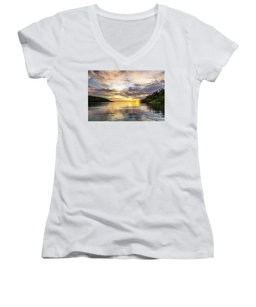 Stunning Sunset In The Togian Islands In Sulawesi Women's V-Neck