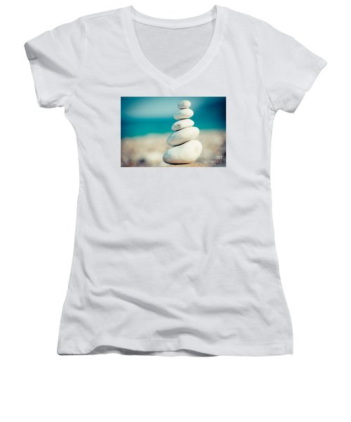 Stupa At Sea Coast Seascape Buddha Women's V-Neck