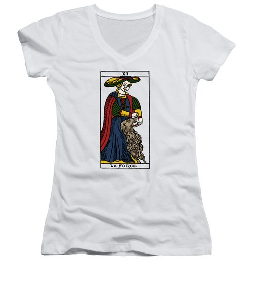 Tarot Card Strength Women's V-Neck T-Shirt (Junior Cut) by Granger