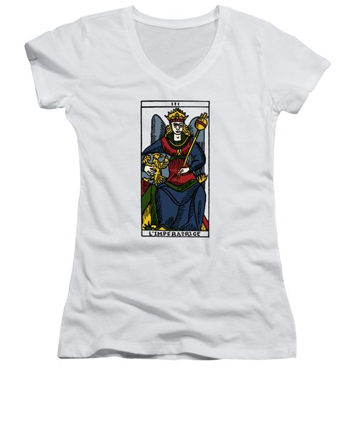 Tarot Card The Empress Women's V-Neck T-Shirt (Junior Cut) by Granger