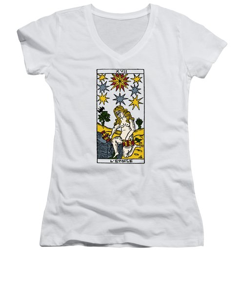 Tarot Card The Stars Women's V-Neck T-Shirt (Junior Cut) by Granger