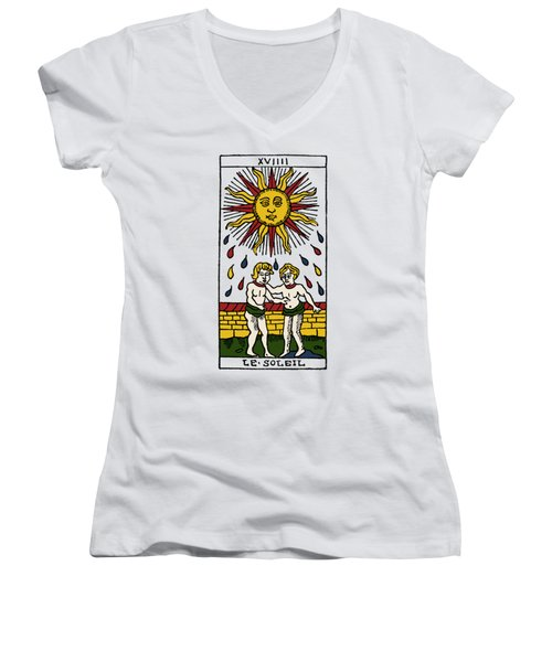 Tarot Card The Sun Women's V-Neck T-Shirt (Junior Cut) by Granger
