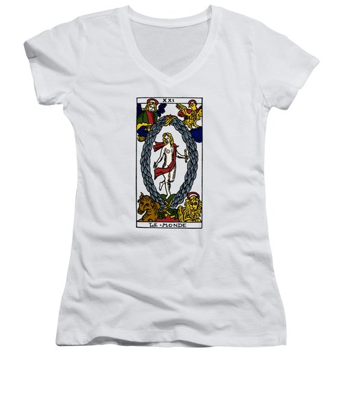 Tarot Card The World Women's V-Neck T-Shirt (Junior Cut) by Granger